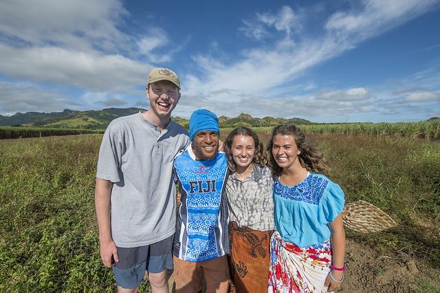Jimbo Alldredge, Nemani Baleinayaca, Alice Jones and Rachel Simpson on a Fijian farm