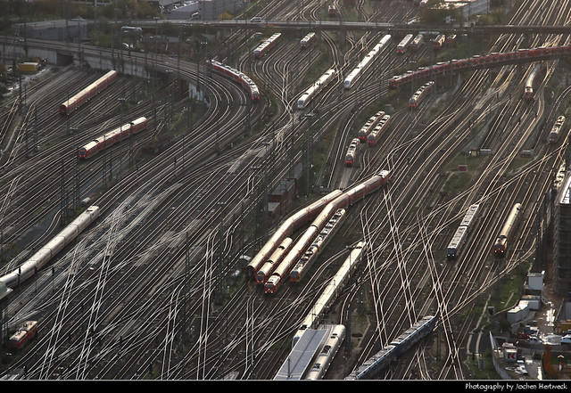 Rail Maze behind Frankfurt Central Station seen from Main Tower, Frankfurt, Germany