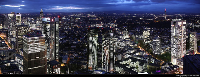 Panoramic view from Main Tower during the Blue Hour, Frankfurt, Germany