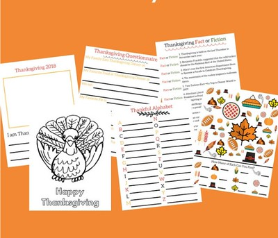 Thanksgiving-activity pack printable