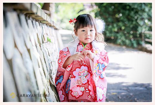 七五三 3歳の女の子 ピンクのお着物でコーデ