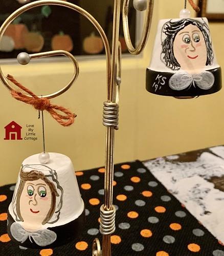 hand painted pilgrim bell ornament