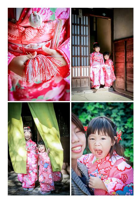七五三 姉妹の女の子2人 ピンクのお着物でコーデ
