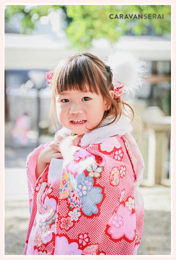 七五三 3歳の女の子 ピンクのお着物 ヘアスタイル