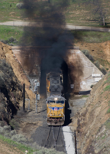 UP 4771 erupting from Tunnel 9