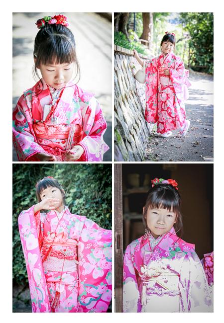 七五三 7歳の女の子 ピンクのお着物でコーデ ロケーション撮影