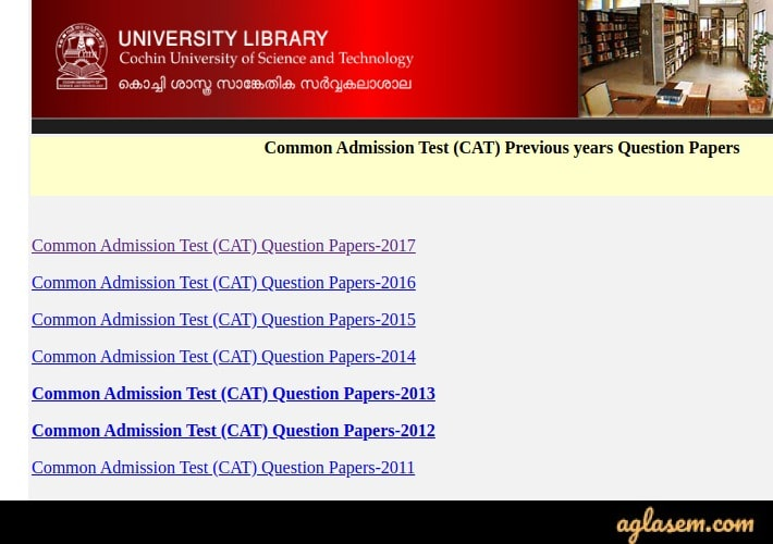 CUSAT CAT Previous Year Question Papers