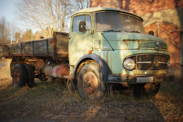 Old truck in winter light