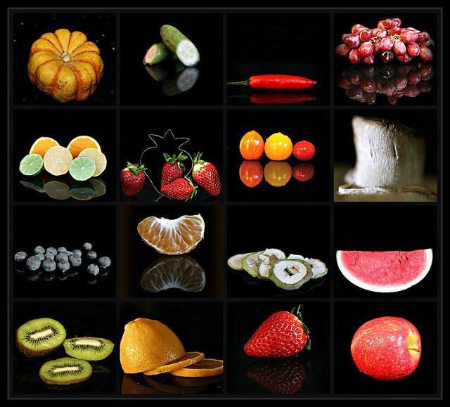 2019 Sydney: Fruit & Vegetables with Black Backgrounds collage #1