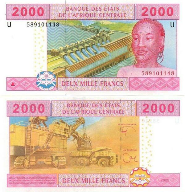 2000 Frankov Kamerun (Stredoafrické štáty) 2002, P208U