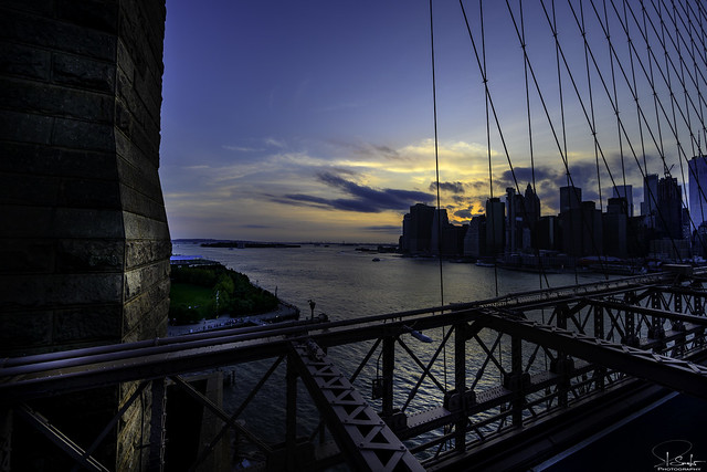 Special evening view from Brooklyn Bridge - New York City - USA