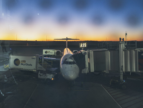 airport gate jet morning sunrise