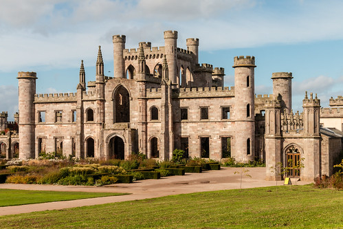 lowther castle fort ruins gothicrevival architecture mansion building landscape sky grass lawn garden stone wall tower turret keep castellation lakedistrict nationalpark cumbria england tourism