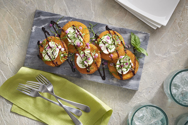 Horizontal Fried Green Tomatoes with drizzle