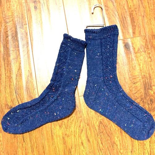 Marilyn's friend knit these gorgeous tweedy Yanagi socks by Maiko Hikosaka using Zitron Trekking XXL Tweed