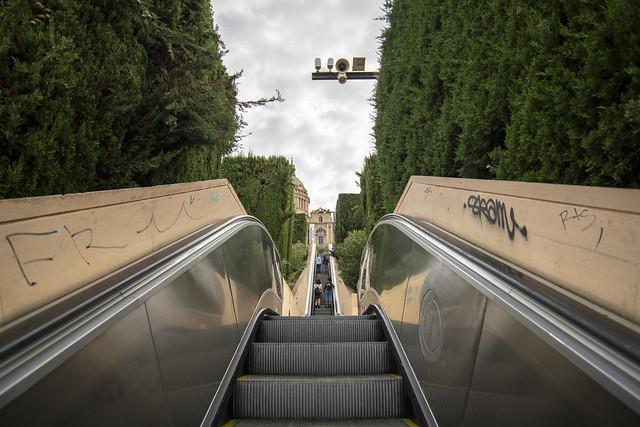 Escalator at Montjuïc - Barcelona, Catalonia, Spain