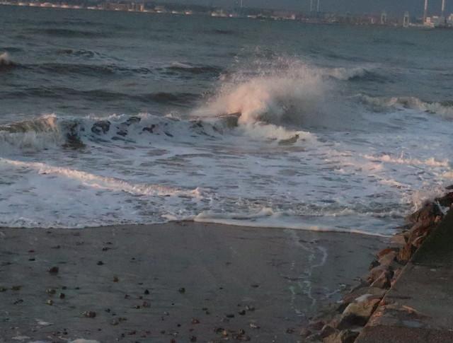La mer , plage de Villerville ,