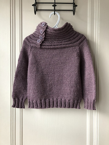 Cozy sweater with a wonderful collar knit by Lise for her granddaughter! Pattern is Moon Walk by Dani Sunshine