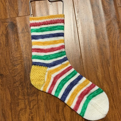 Fun Hudson Bay coloured socks knit by Connie (knitnut246)