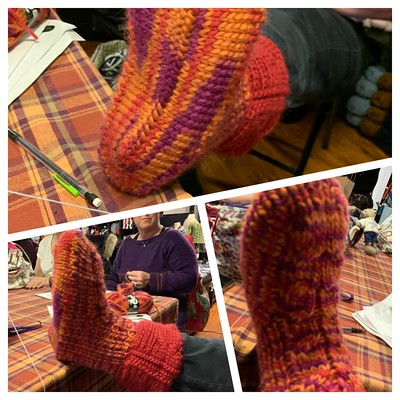Cool slippers knit by Sandi using Drops Eskimo