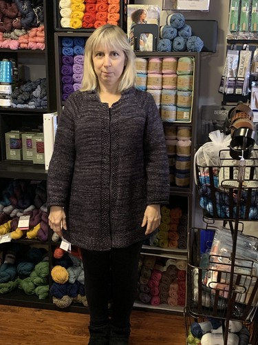 Rita finished (except for sewing on buttons) this jacket for herself knit using squishy Malabrigo Mecha!