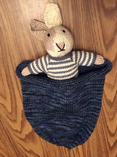 Farzana's knit Boy Bunny by Little Cotton Rabbits and sleep sack that she gifted her grandson