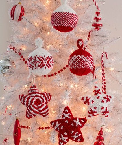 Holiday Stars and Balls Ornaments Designed by Laura Bain for Red Heart