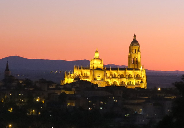 Sunset over Segovia cathedral