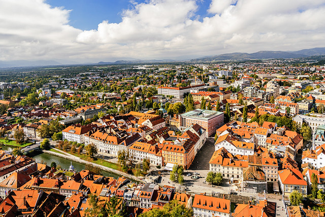 View from the castle to the old town of Ljubljana