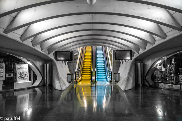 Yellow and Blue Escalators