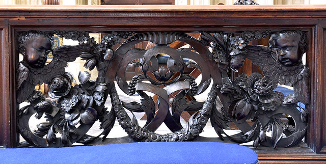 Winchester, Hampshire, cathedral, quire, communion rail, detail