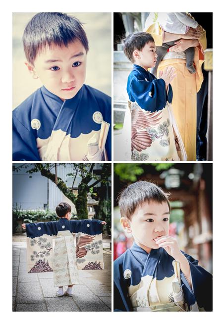 七五三 那古野(なごや)神社 5歳の男の子 服装は黒のアンティーク着物