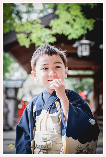 七五三 那古野(なごや)神社 アンティーク着物が似合う5歳の男の子