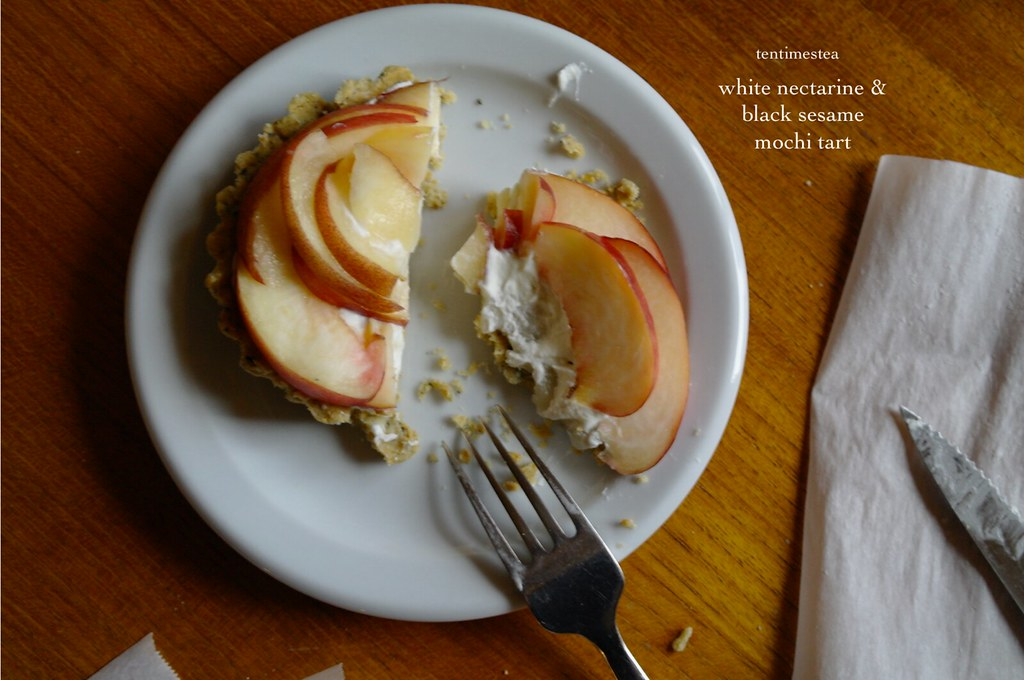white nectarine black sesame mochi tart