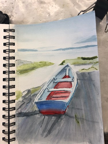 watercolor wip landscape water boat drawing seascape small format