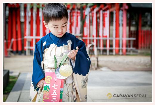 那古野(なごや)神社 アンティーク着物を着て七五三のロケーション撮影 男の子