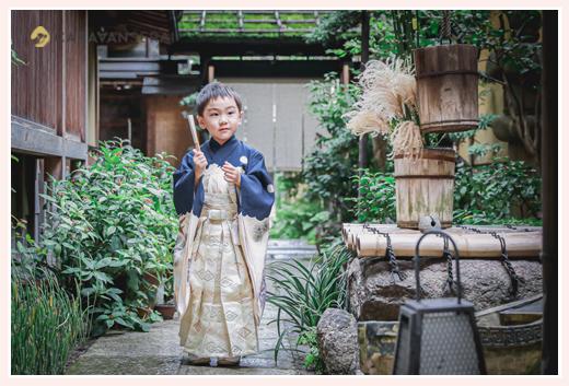 七五三の前撮り アンティーク着物を着た5歳の男の子