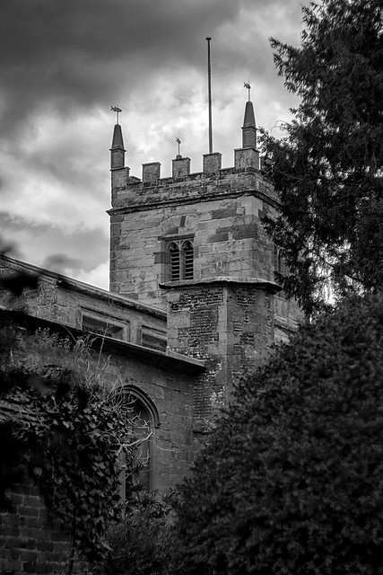 Storm over Gothic Church Tower.
