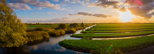 Panoramic view over polder Hitland in autumn colors