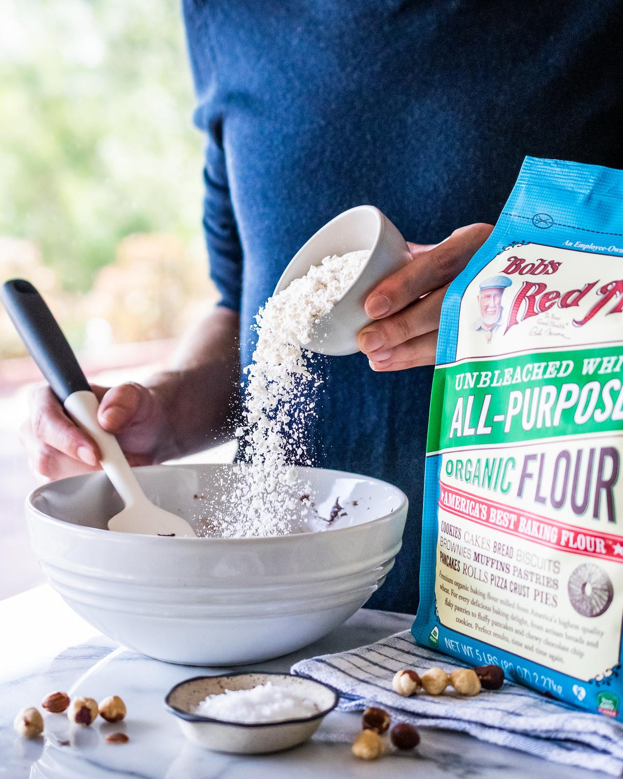 a shower of flour