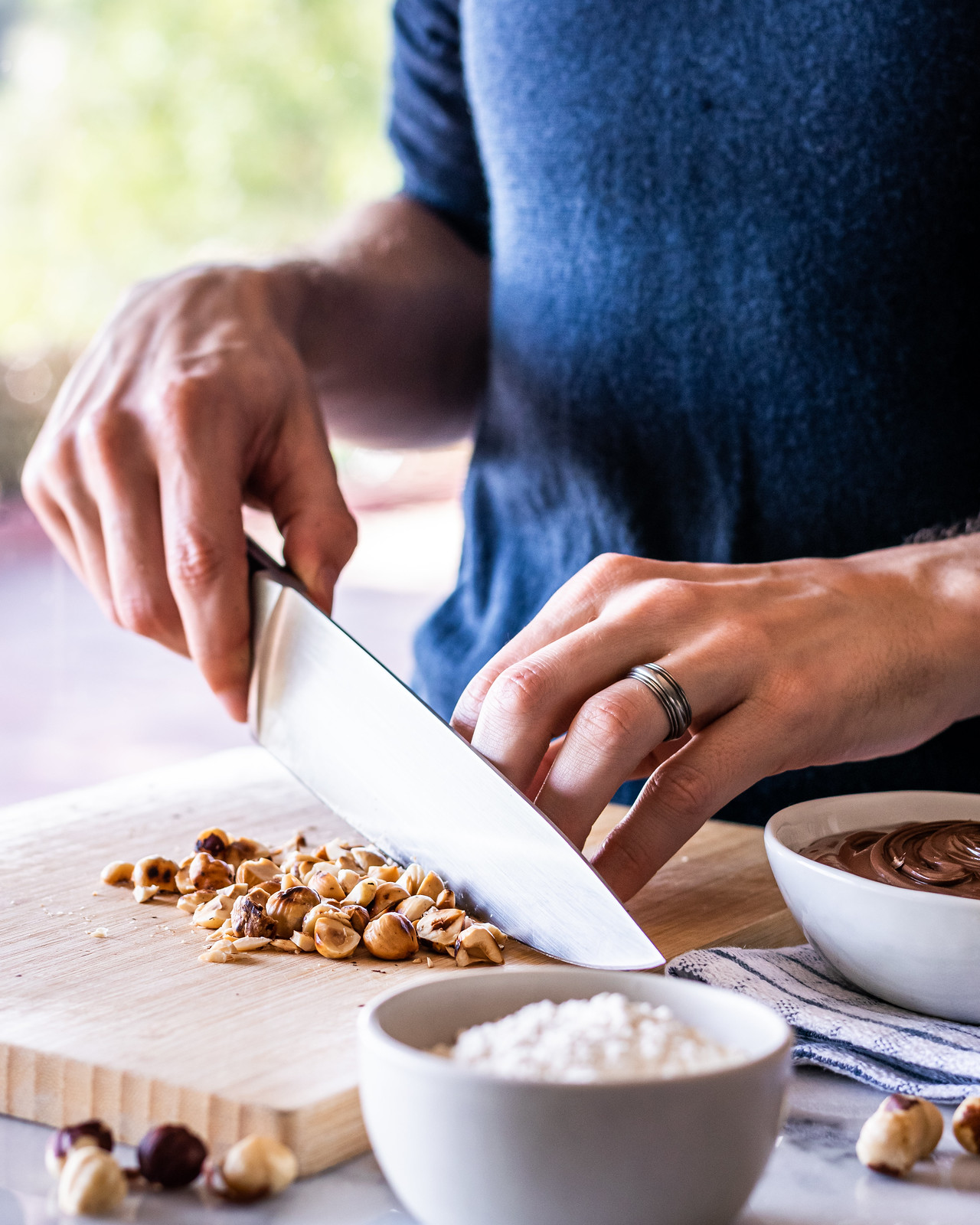 chopping the hazelnuts by hand