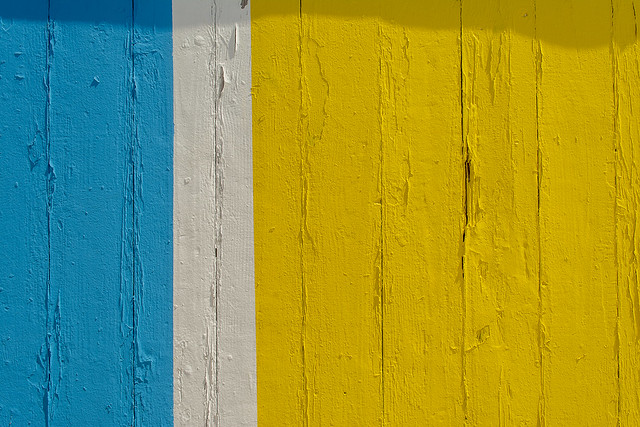 Blue, white and yellow