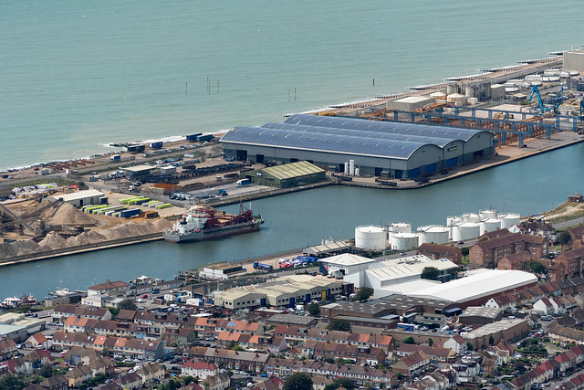Aerial view of Shoreham Port in East Sussex UK