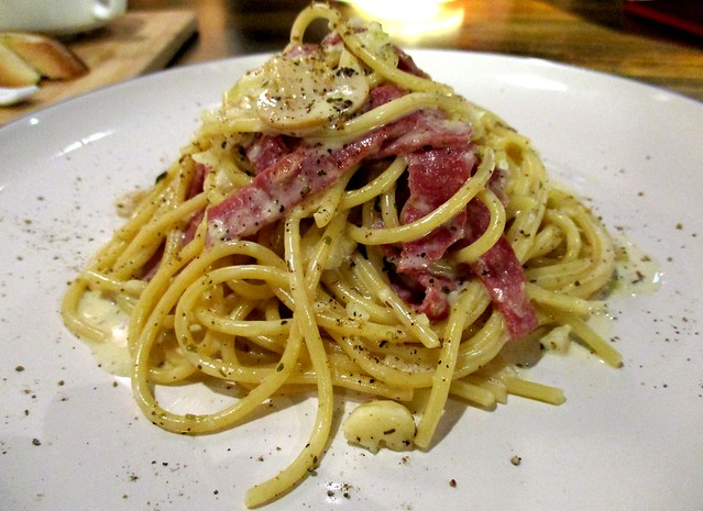 Beef bacon carbonara