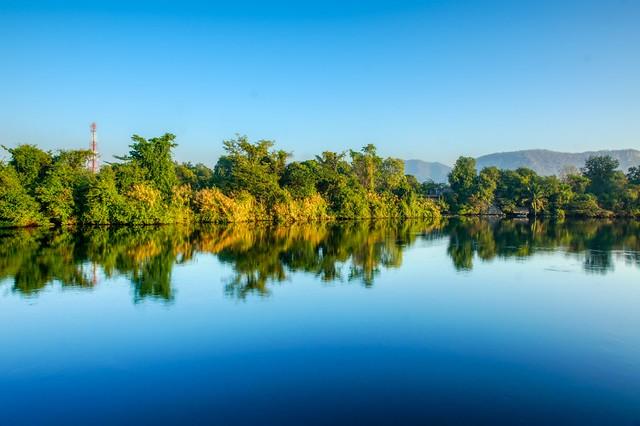 Morning on the river Kwae Yai in Kanchanaburi, Thailand