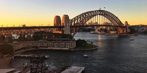 sydney harbour cruise ship bridge ovationoftheseas sunset circular quay