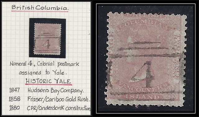 British Columbia / B.C. Postal History - 1860 - Numeral 4 - Colonial Postmark Assigned to Yale
