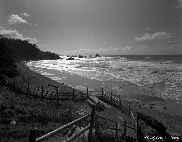 Ocean, Fence, and Picnic Table, Indian Beach, Oregon