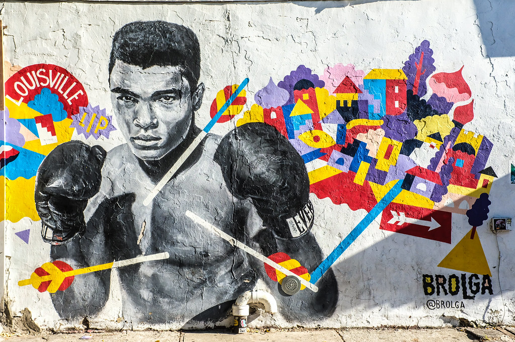 Walk In New York - Street Art - Brooklyn - Williamsburg - Brolga - Muhammad Ali - corner of Bedford Avenue & N 5th street