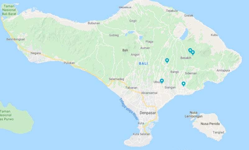 Isla de Bali, puntos que vamos a visitar